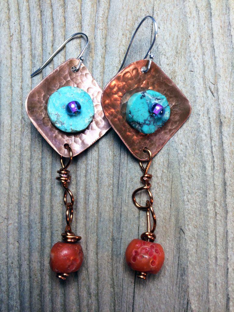 Earrings w/Turquoise & Tibetan Amber