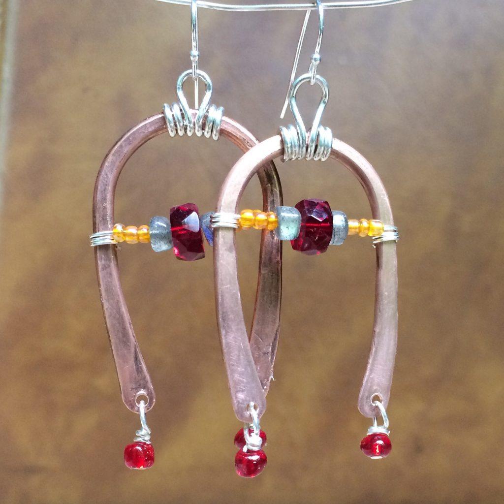Dangle Earrings With Ruby & Labradorite