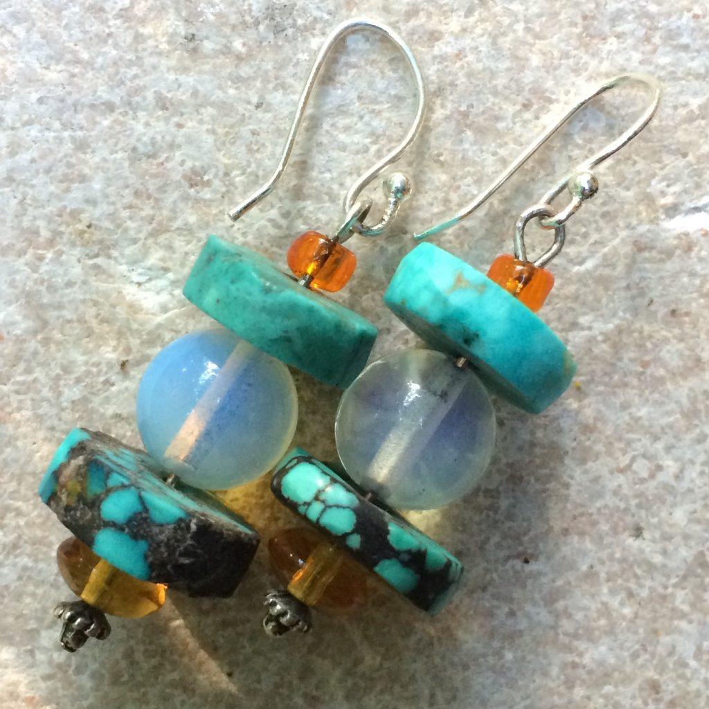 Dangle Earrings With Turquoise & Moonstone