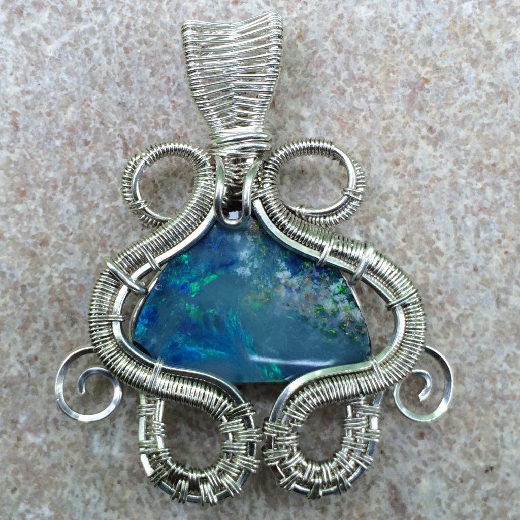 Wire Wrap Opal Necklace