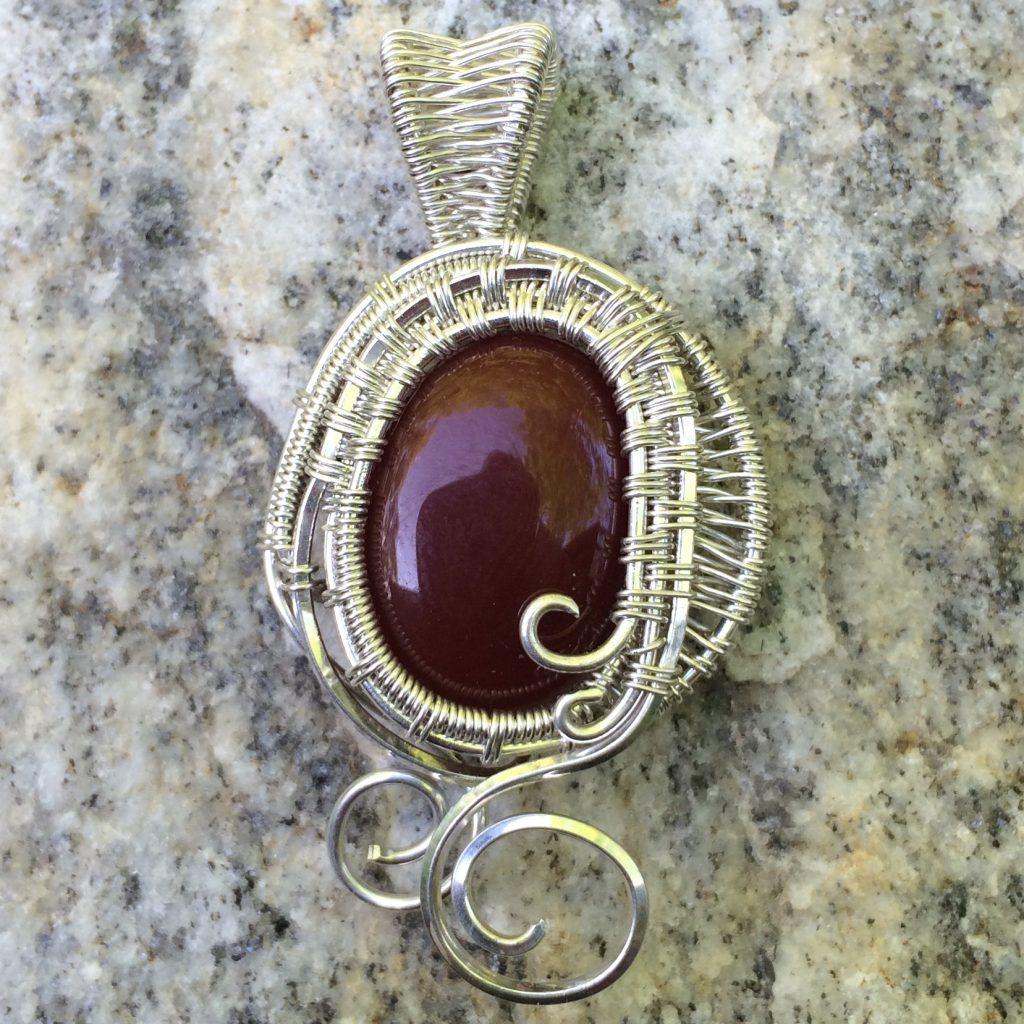 Wire Wrap Brown Gemstone Necklace
