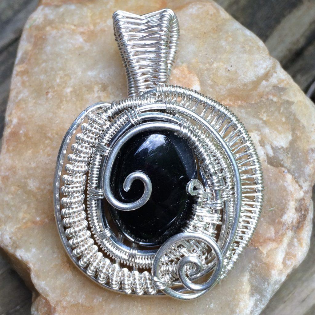 Wire Wrap Black Quartz Necklace