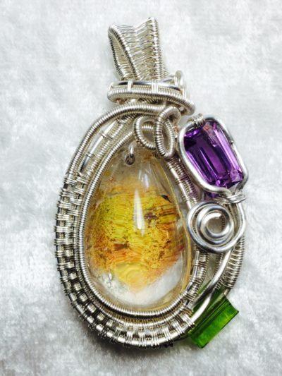 Wire Wrap Lodolite & Amethyst Necklace