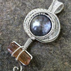 Wire Wrap Necklace w/ Sapphire & Topaz