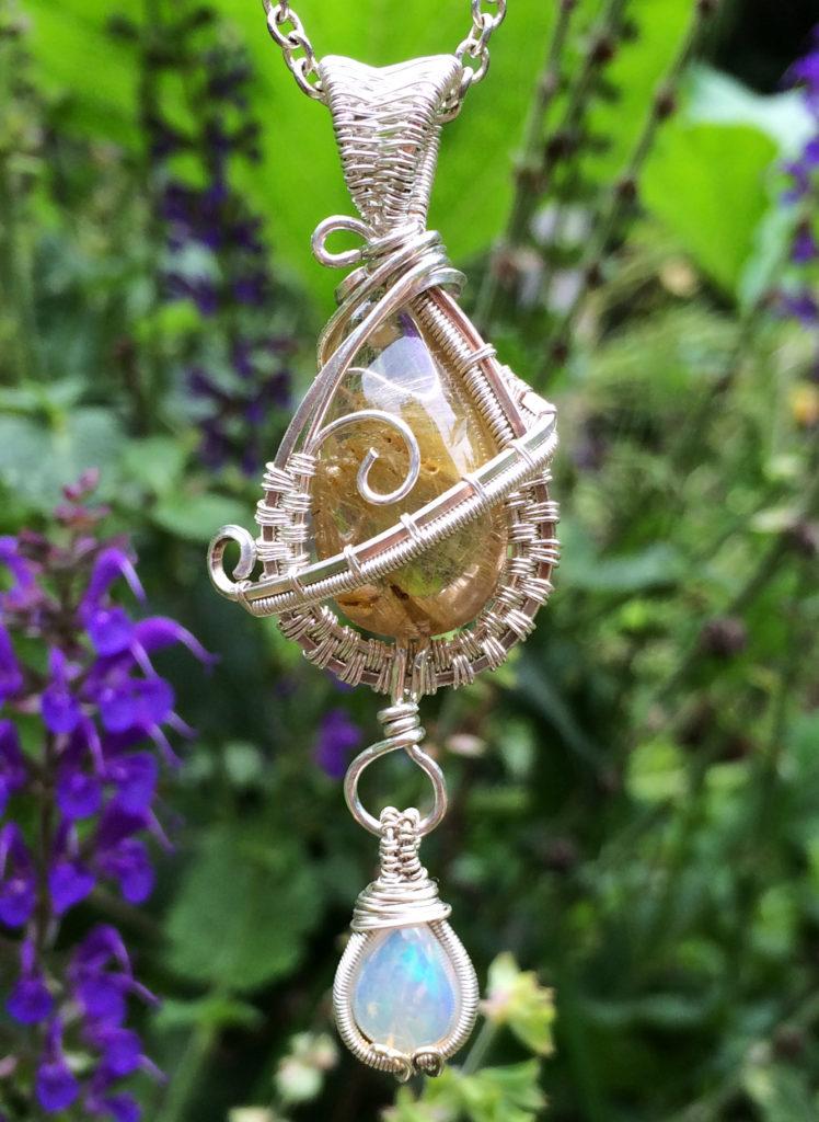 Wire Wrap Necklace w/ Quartz & Opal