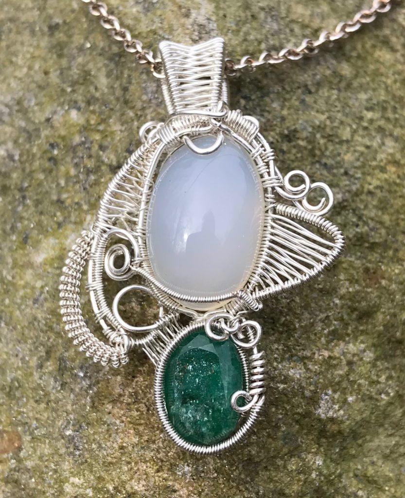 Moonstone Emerald Wire Wrap