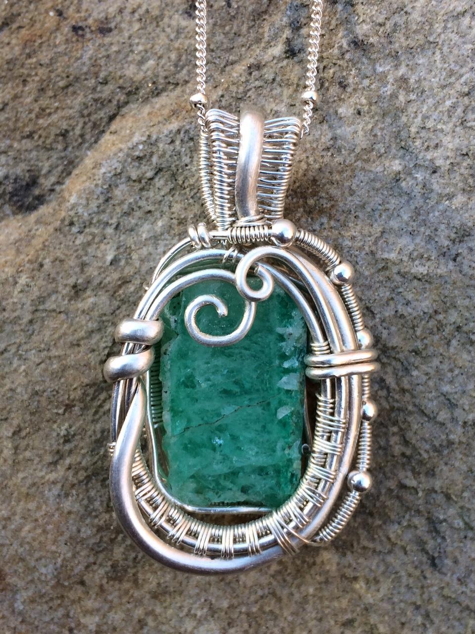 Custom Wire Wrap Emerald