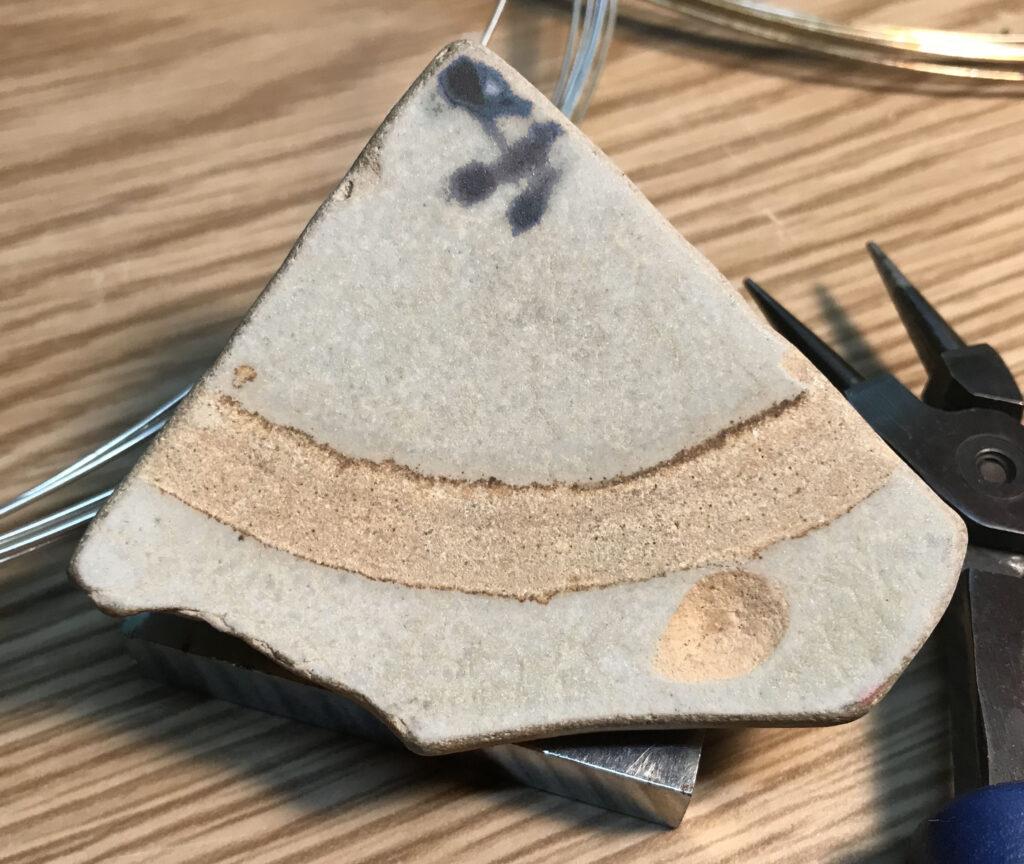 Custom Wire Wrap Jewelry - Plate Shard Unwrapped