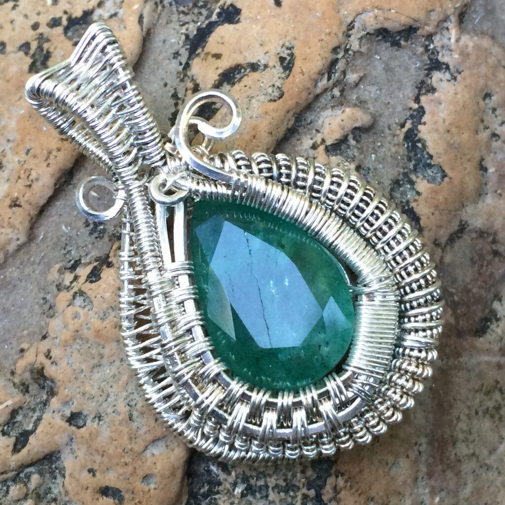 Sterling Silver Wire Wrap Emerald