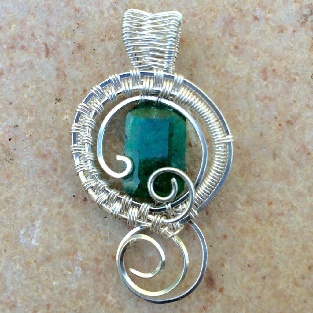 Emerald Wire Wrap Pendant